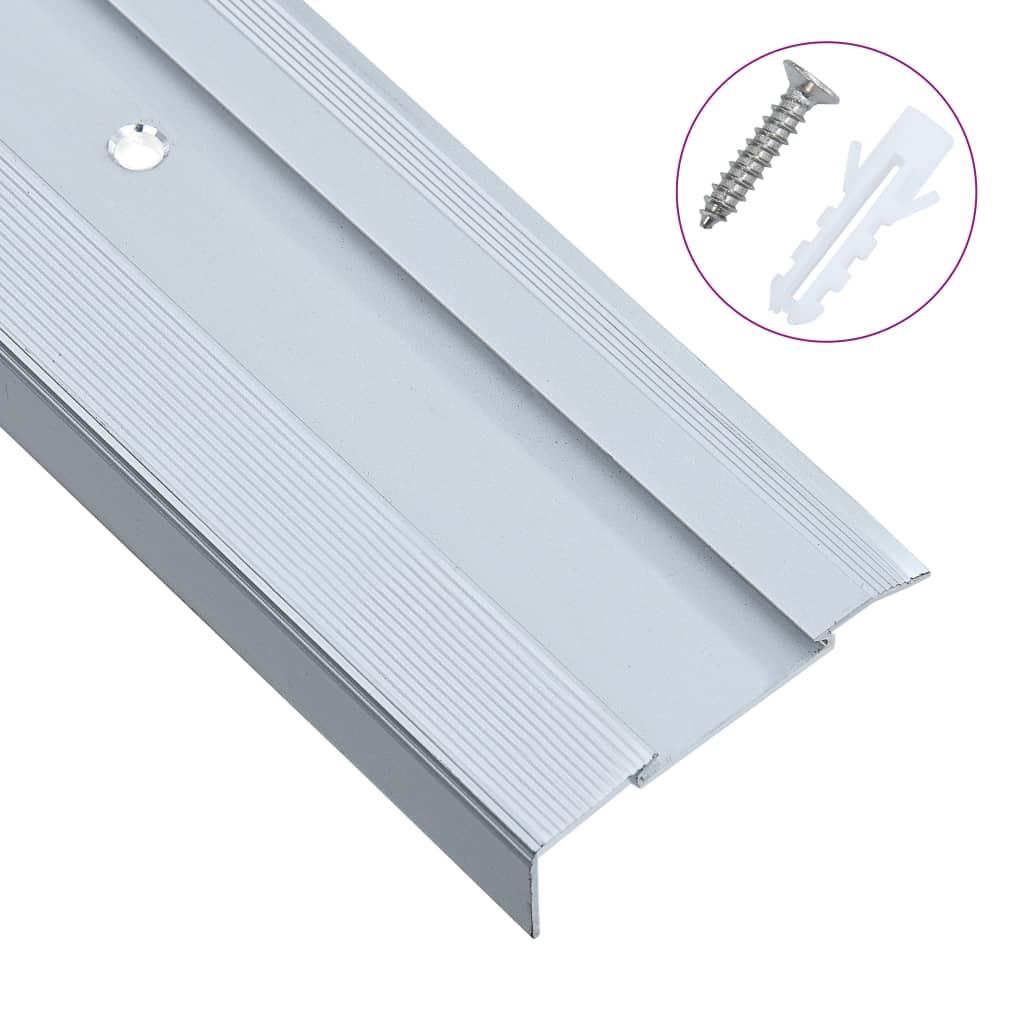 vidaXL Schodové lišty v tvare L 15 ks, hliník 90 cm, strieborné