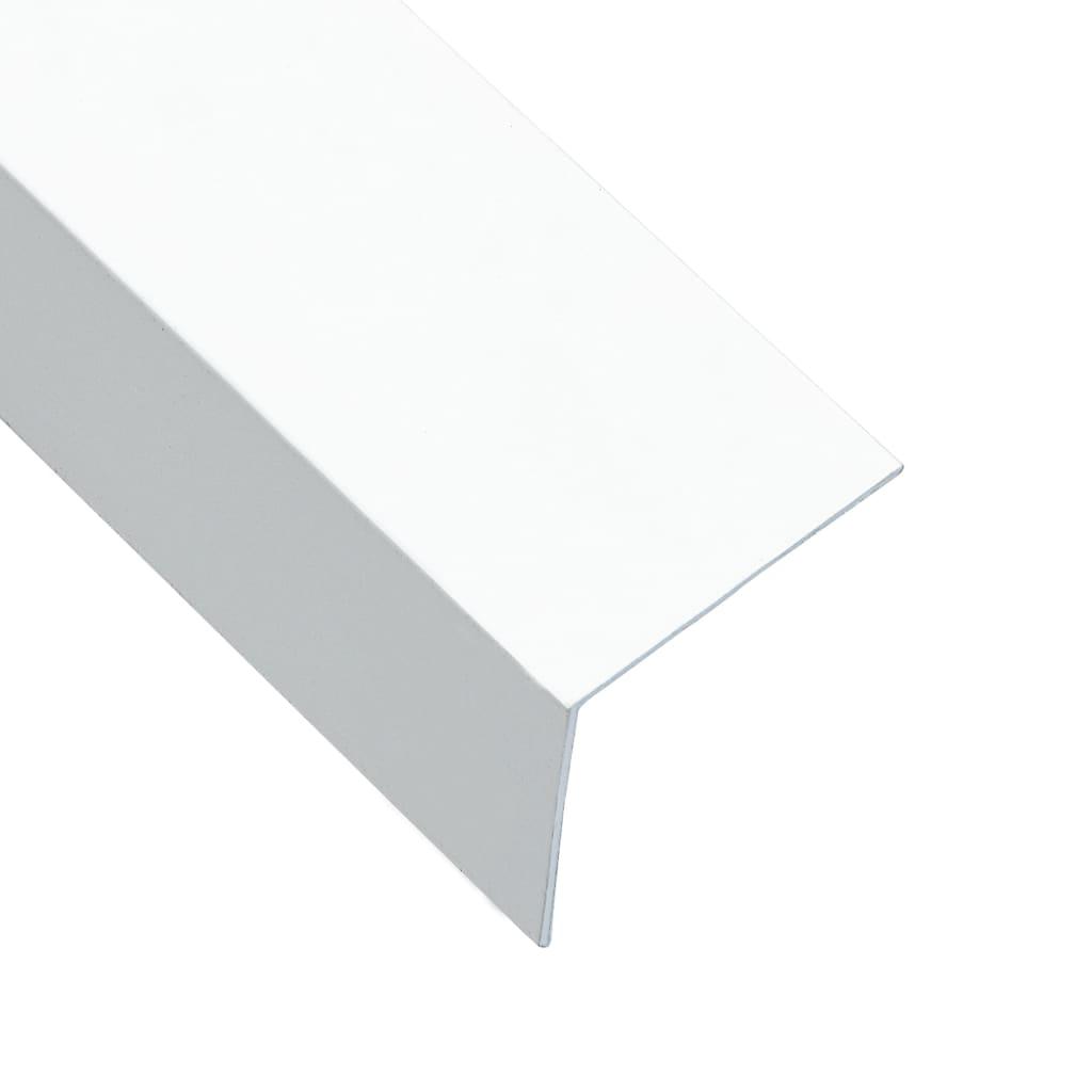 vidaXL Lišty v tvare L 90° 5 ks, hliník, biele 170 cm, 50x50 mm