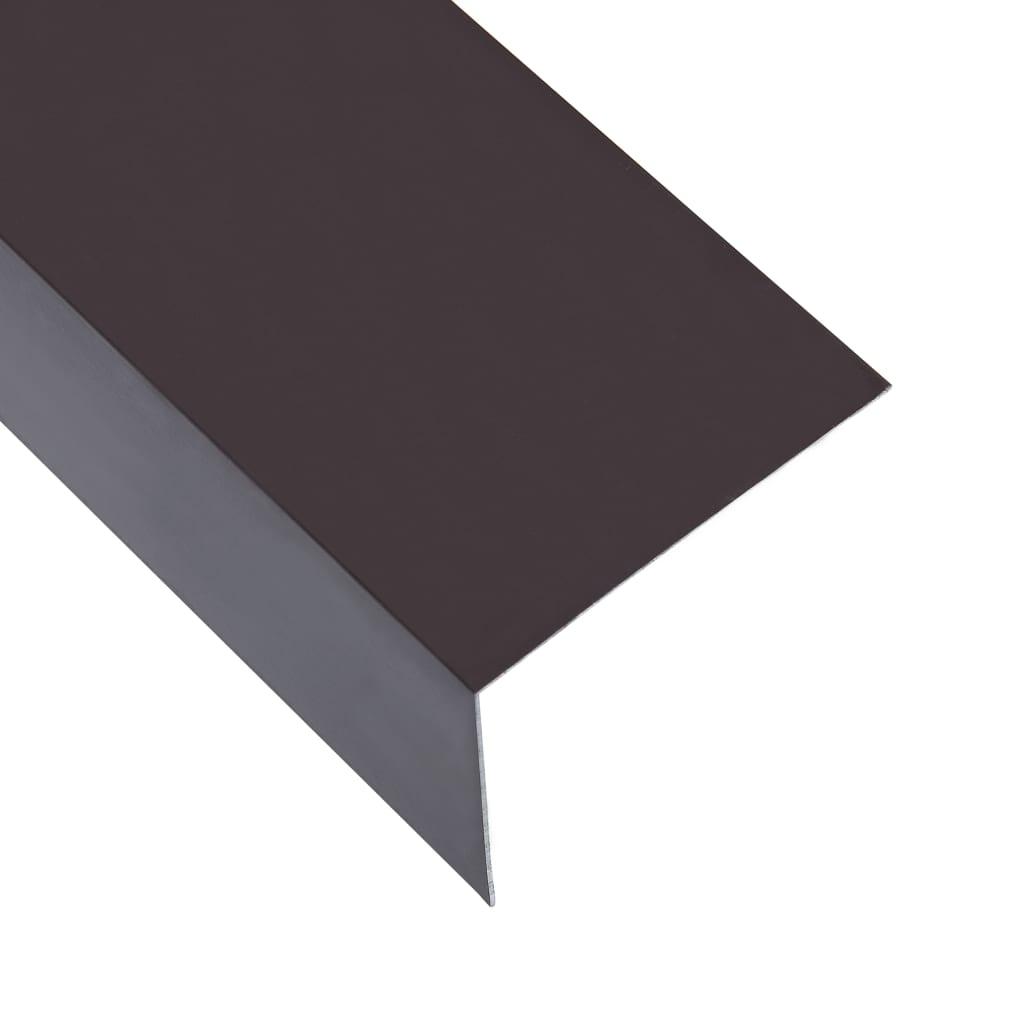 vidaXL Lišty v tvare L 90° 5 ks, hliník, hnedé 170 cm, 100x50 mm
