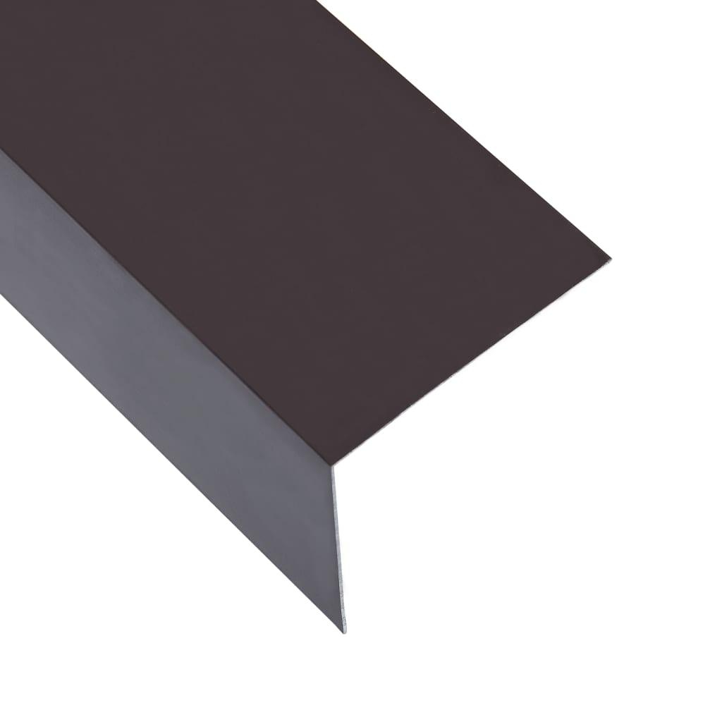 vidaXL Lišty v tvare L 90° 5 ks, hliník, hnedé 170 cm, 100x100 mm
