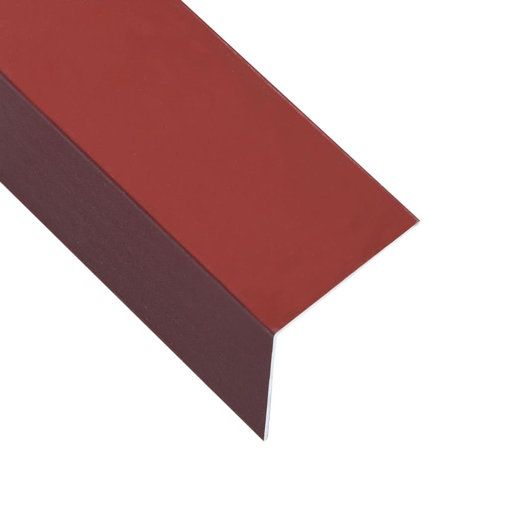 vidaXL Lišty v tvare L 90° 5 ks, hliník, červené 170 cm, 30x30 mm