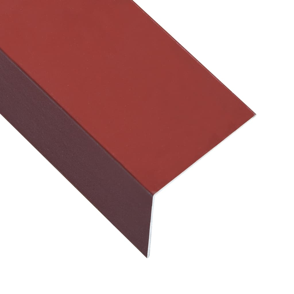 vidaXL Lišty v tvare L 90° 5 ks, hliník, červené 170 cm, 100x50 mm