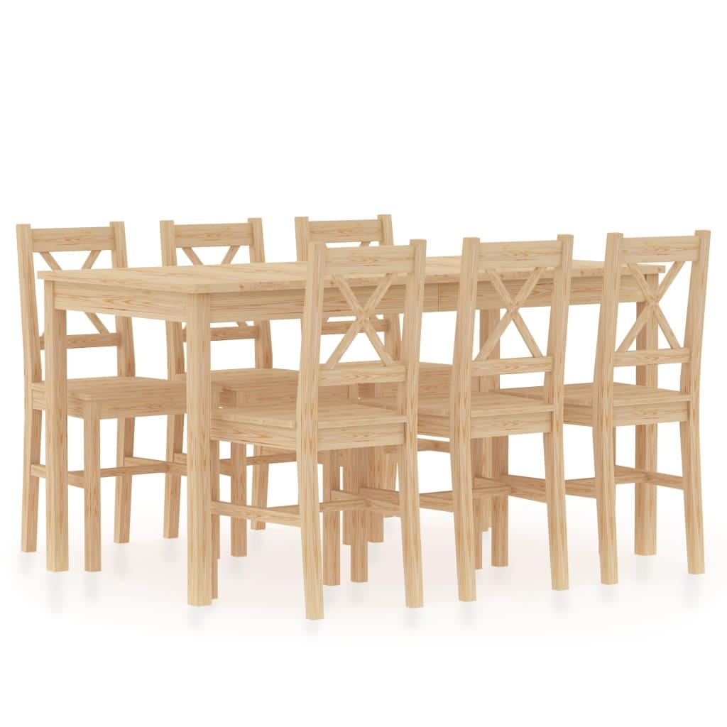 vidaXL 7-dielna jedálenská súprava, borovicové drevo
