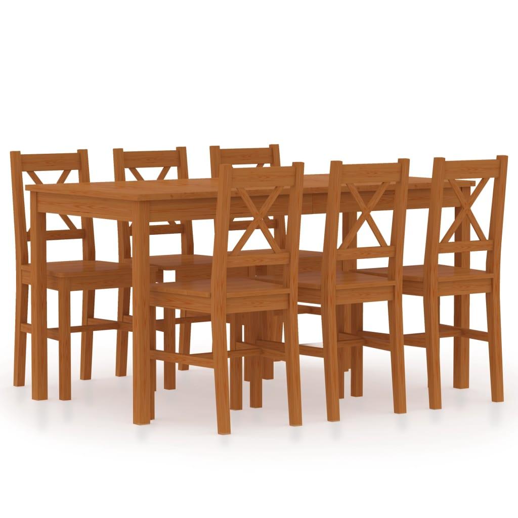 vidaXL 7-dielna jedálenská súprava, borovicové drevo, medovo hnedá