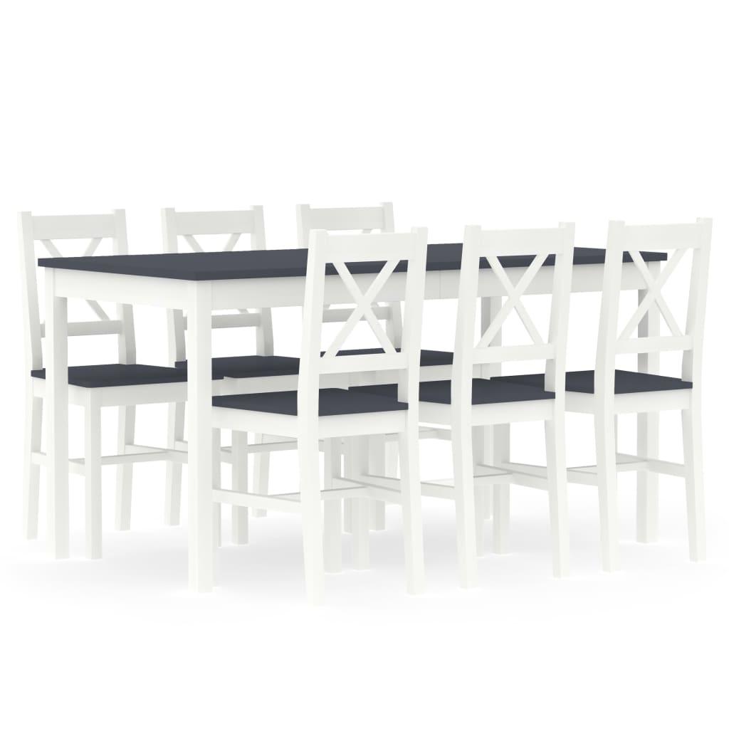 vidaXL 7-dielna jedálenská súprava, borovicové drevo, bielo sivá