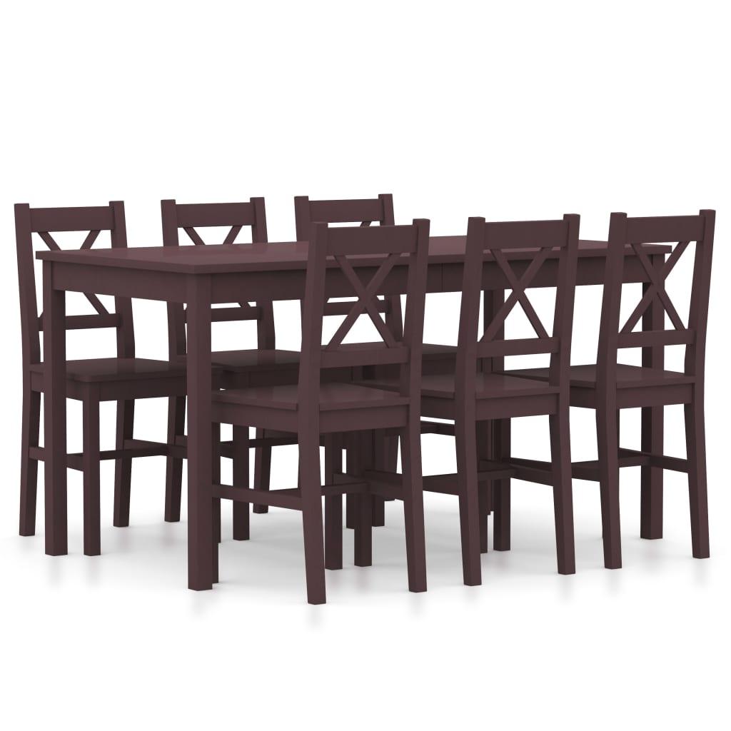 vidaXL 7-dielna jedálenská súprava, borovicové drevo, tmavohnedá