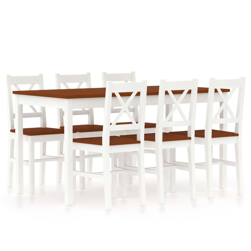 vidaXL 7-dielna jedálenská súprava, borovicové drevo, bielo hnedá