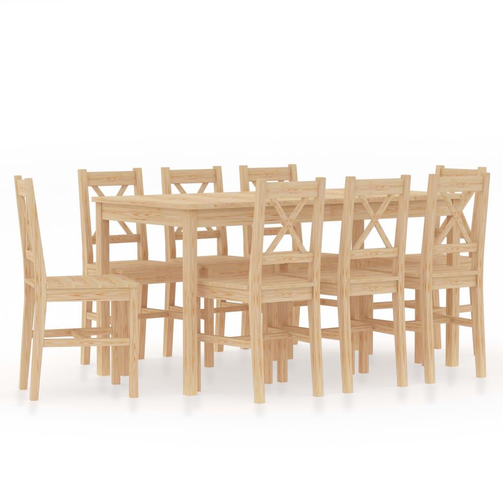 vidaXL 9-dielna jedálenská súprava, borovicové drevo