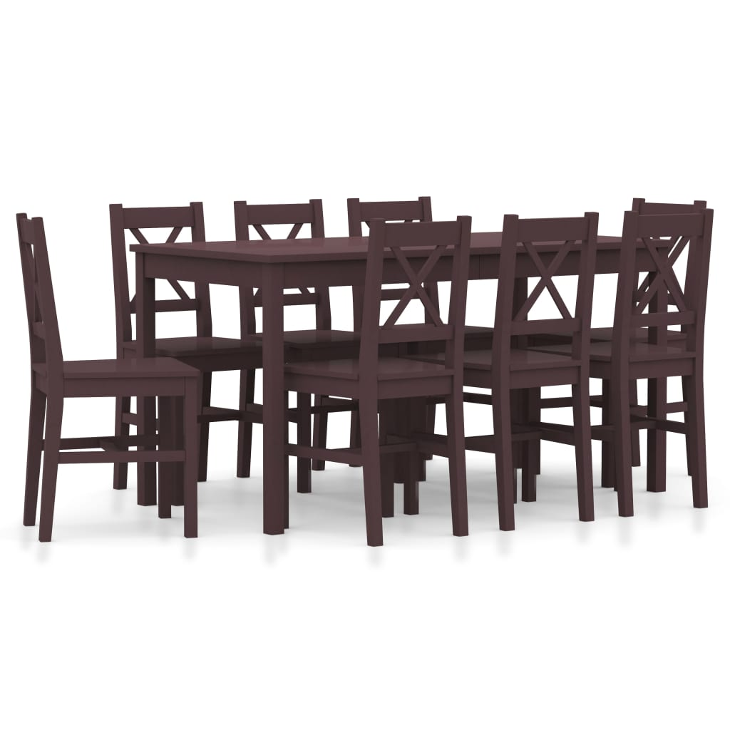 vidaXL 9-dielna jedálenská súprava, borovicové drevo, tmavohnedá