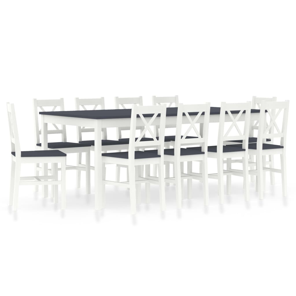 vidaXL 11-dielna jedálenská súprava, borovicové drevo, bielo sivá