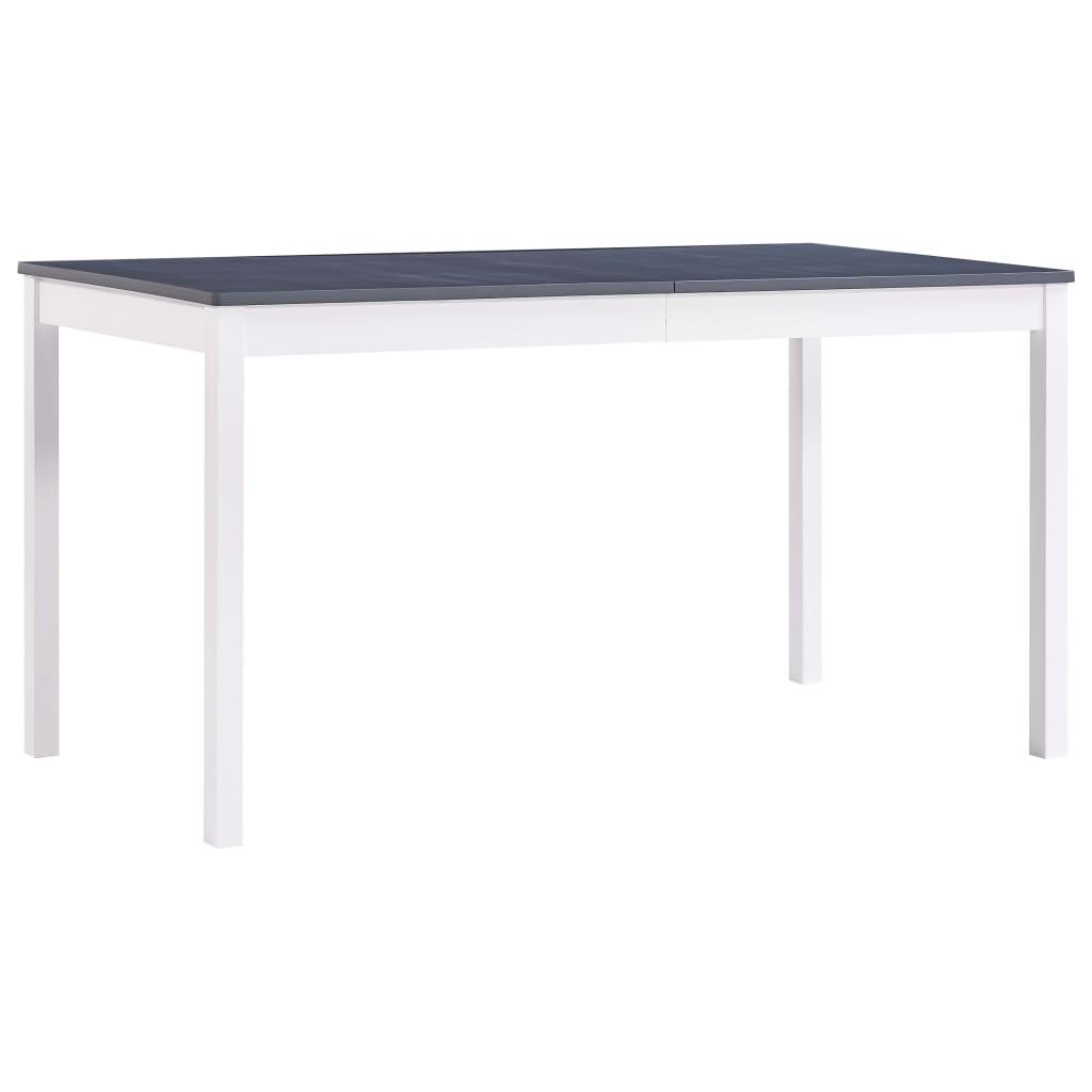 vidaXL Jedálenský stôl, biely a sivý 140x70x73 cm, borovicové drevo