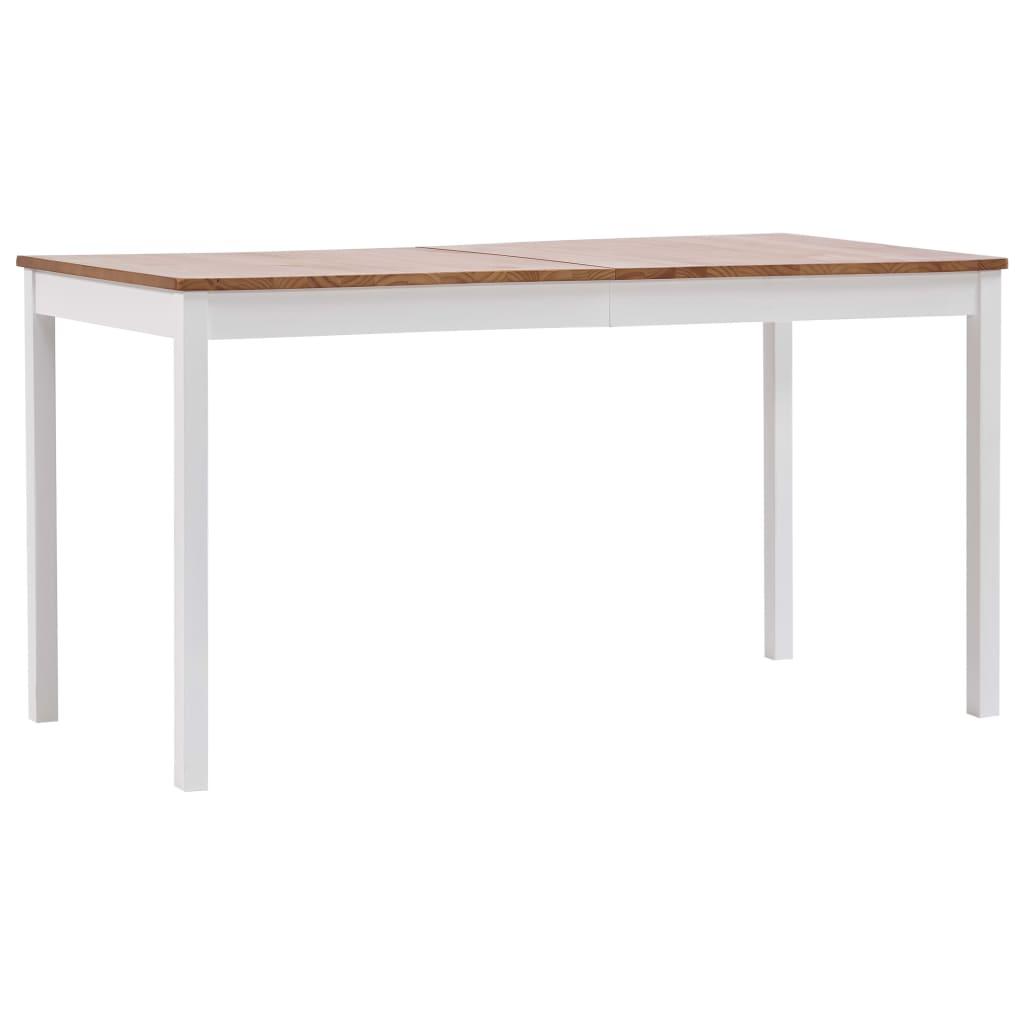 vidaXL Jedálenský stôl, biely a hnedý 140x70x73 cm, borovicové drevo