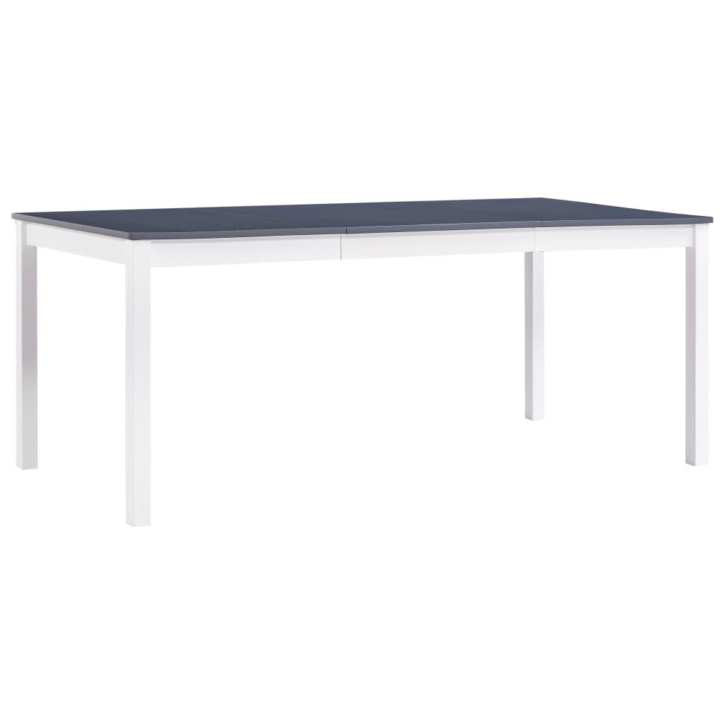 vidaXL Jedálenský stôl, biely a sivý 180x90x73 cm, borovicové drevo