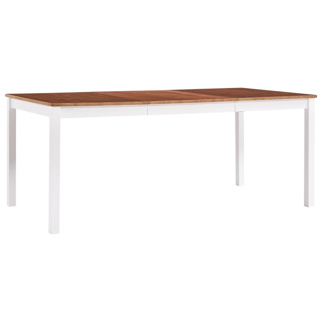 vidaXL Jedálenský stôl, biely a hnedý 180x90x73 cm, borovicové drevo