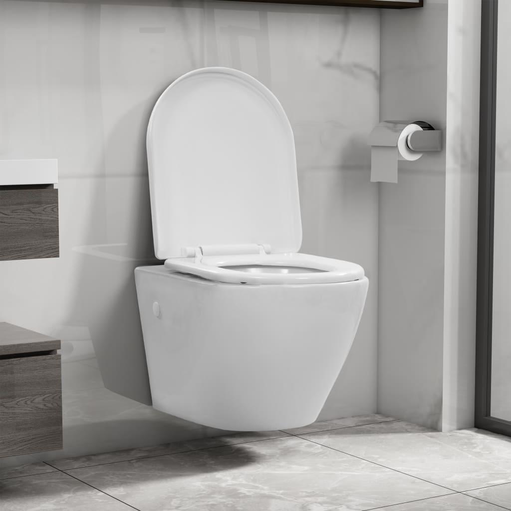 vidaXL Závesné bezokrajové WC biele keramické