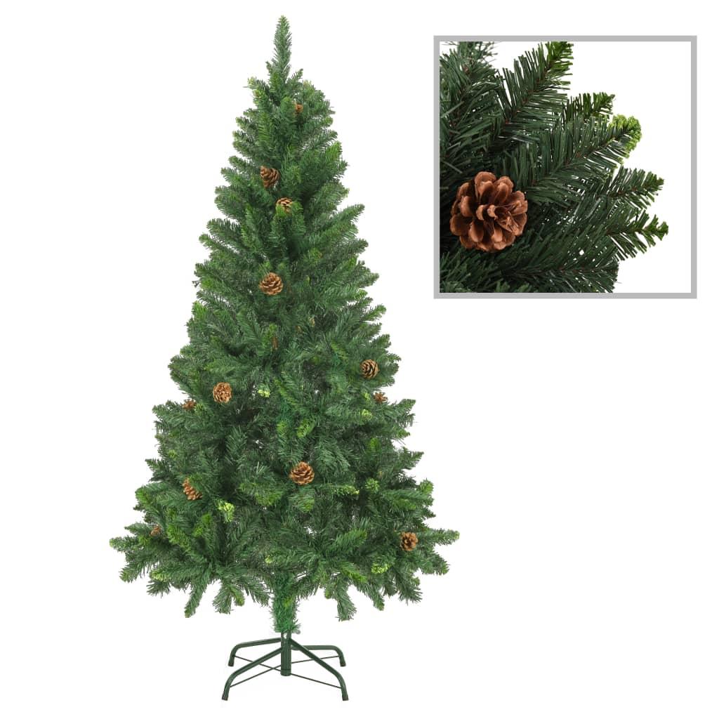 vidaXL Umelý vianočný stromček s borovicovými šiškami zelený 150 cm