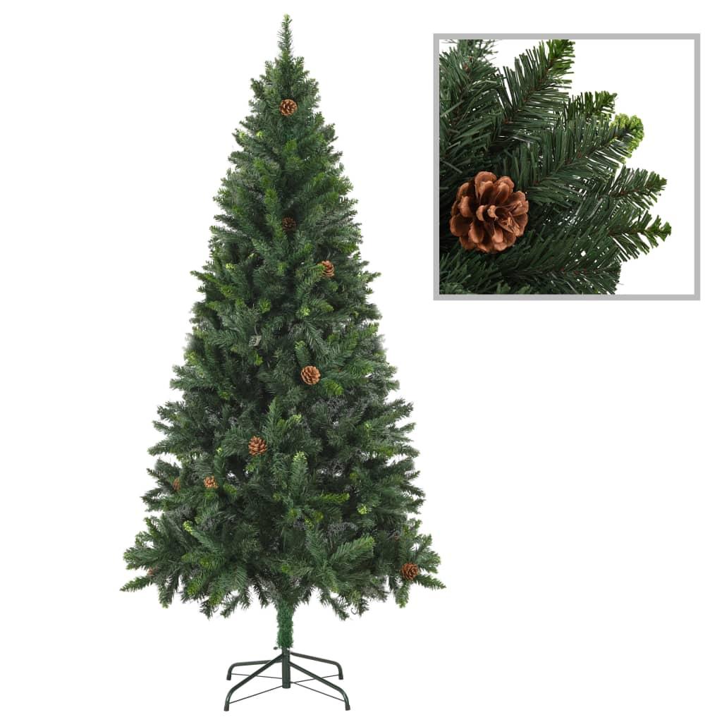 vidaXL Umelý vianočný stromček s borovicovými šiškami zelený 180 cm