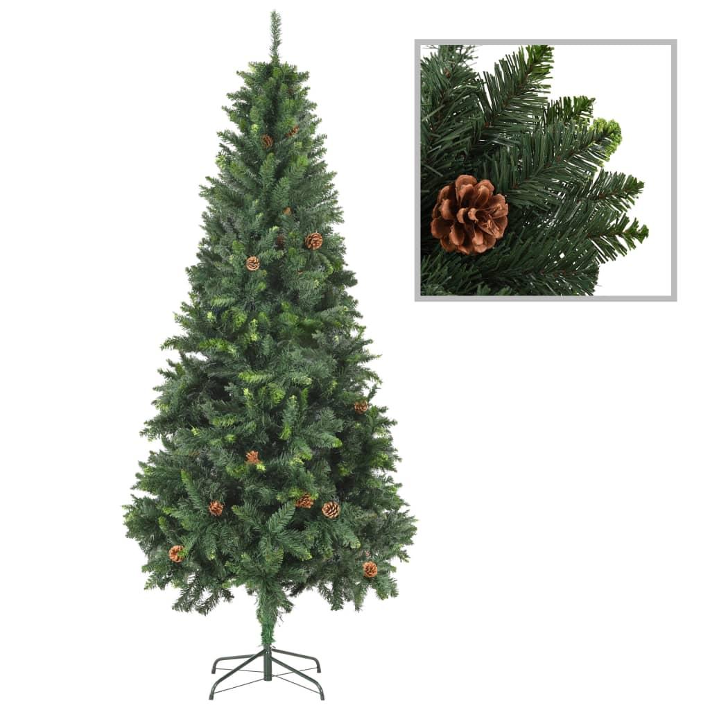 vidaXL Umelý vianočný stromček s borovicovými šiškami zelený 210 cm