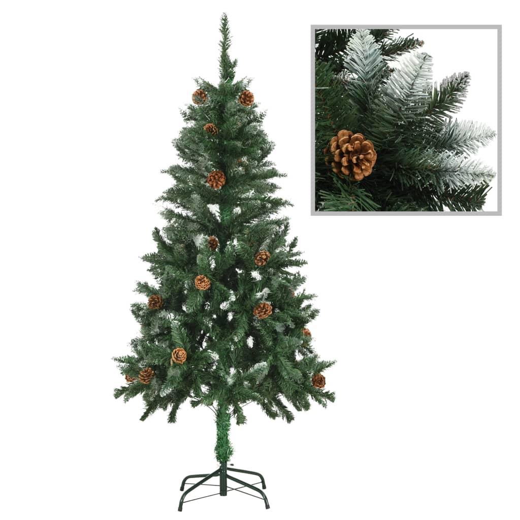 vidaXL Umelý vianočný stromček s borovicovými šiškami biele vetvičky 150 cm