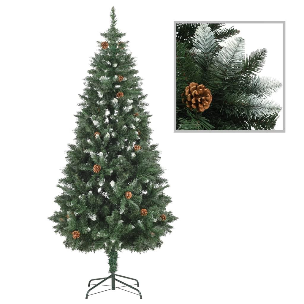 vidaXL Umelý vianočný stromček s borovicovými šiškami biele vetvičky 180 cm