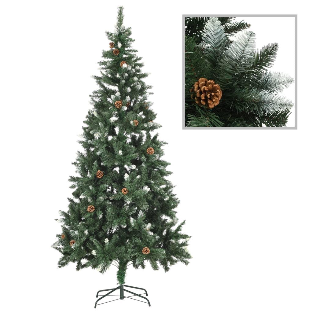 vidaXL Umelý vianočný stromček s borovicovými šiškami biele vetvičky 210 cm