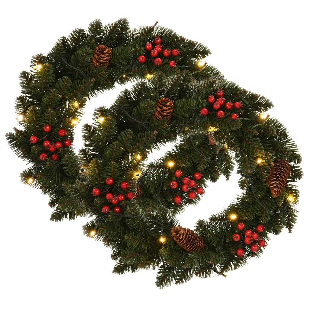 vidaXL Vianočné vence 2 ks zelené 45 cm s dekoráciou