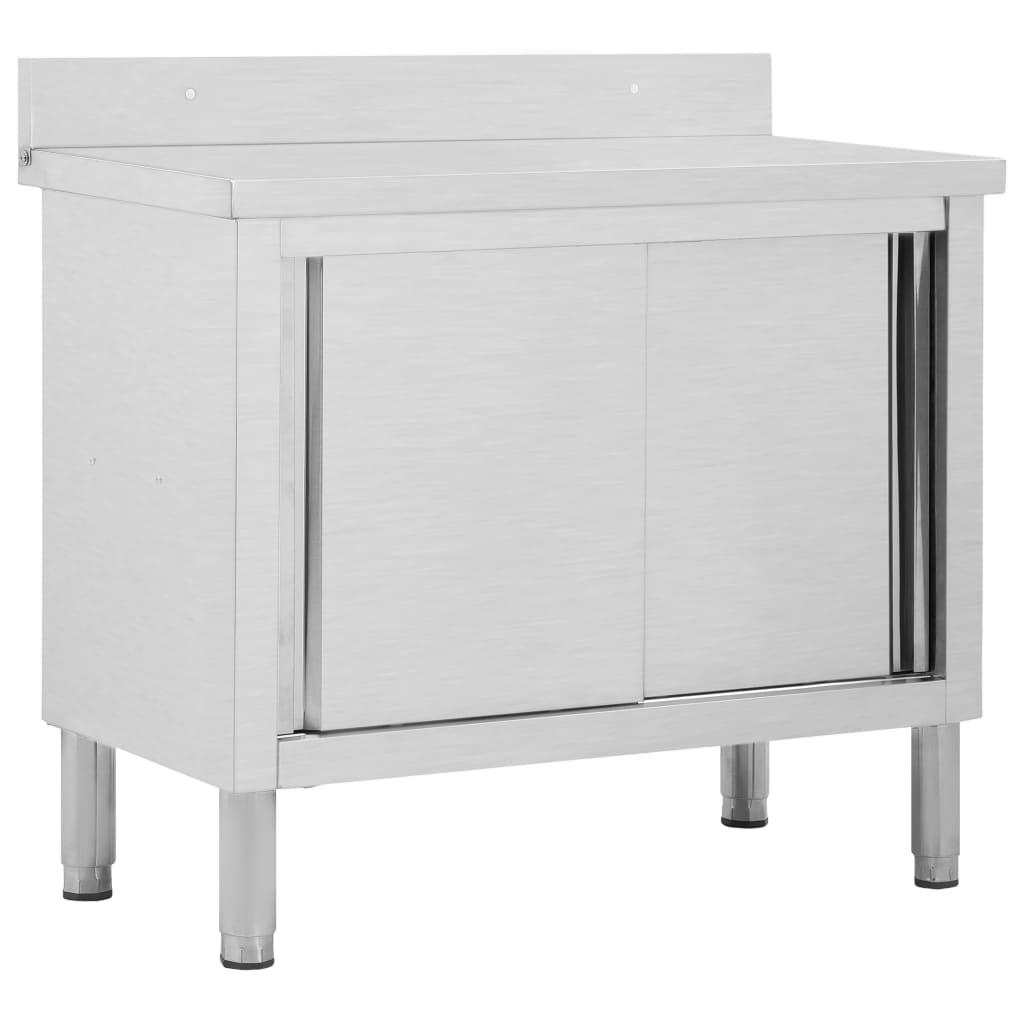 vidaXL Pracovný stôl s posuvnými dvierkami 100x50x95 cm nehrdzavejúca oceľ