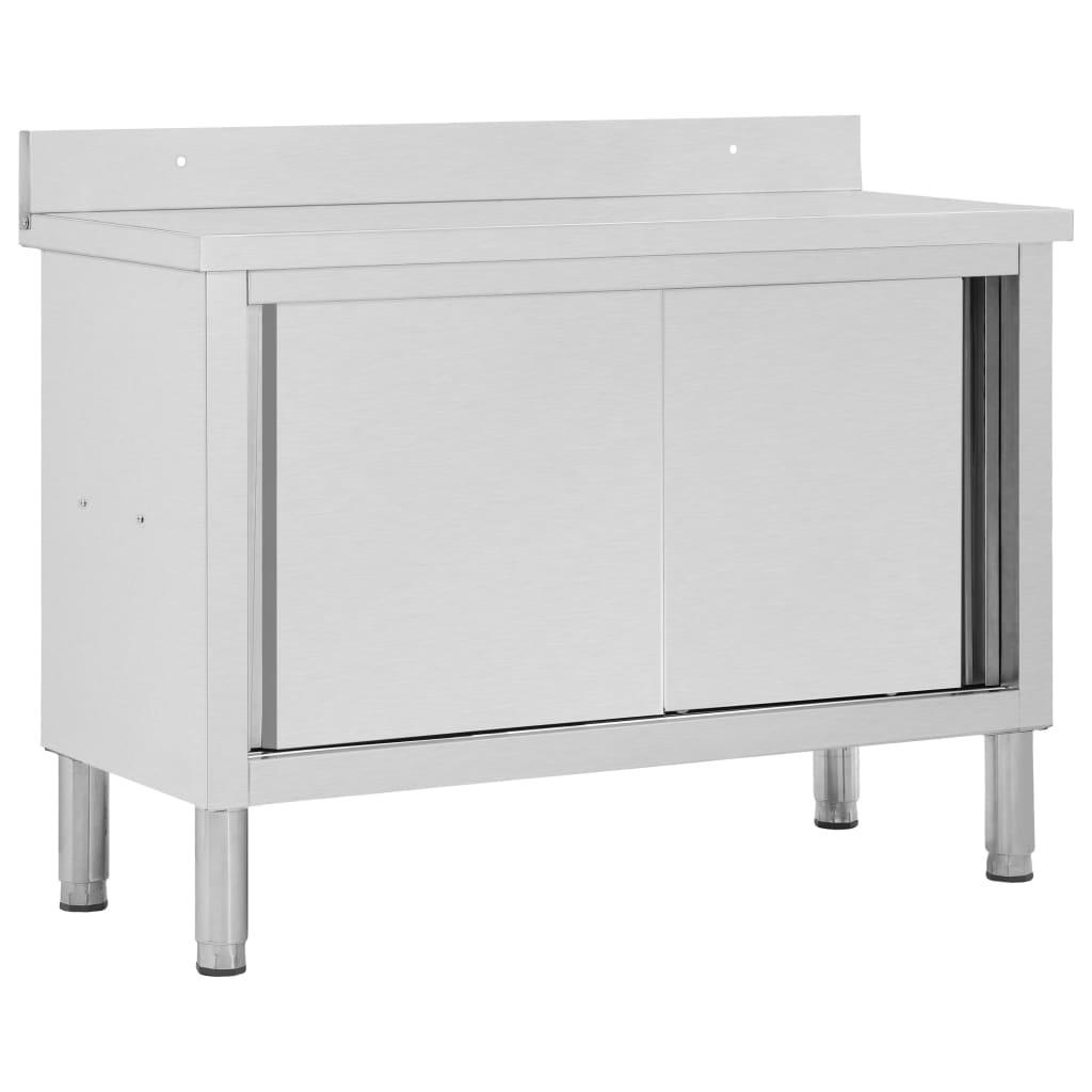 vidaXL Pracovný stôl s posuvnými dvierkami 120x50x95 cm nehrdzavejúca oceľ