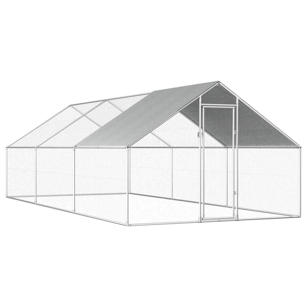 vidaXL Vonkajšia klietka pre sliepky  2,75x6x2 m, pozinkovaná oceľ