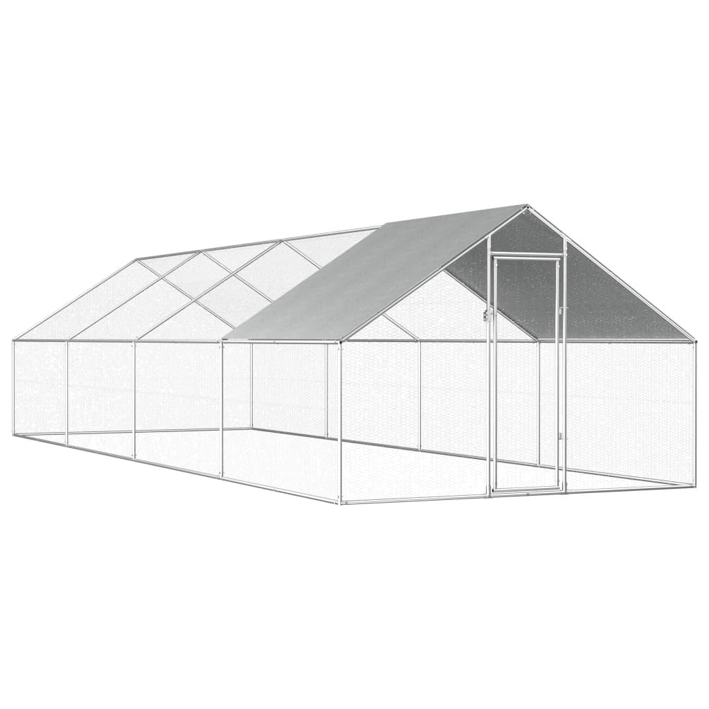 vidaXL Vonkajšia klietka pre sliepky  2,75x8x2 m, pozinkovaná oceľ