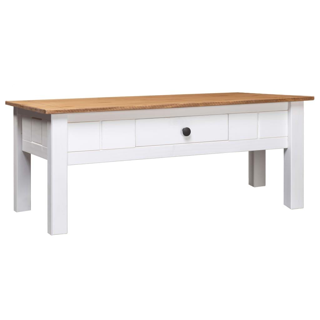 vidaXL Konferenčný stolík, biely 100x60x45 cm, borovica Panama Range