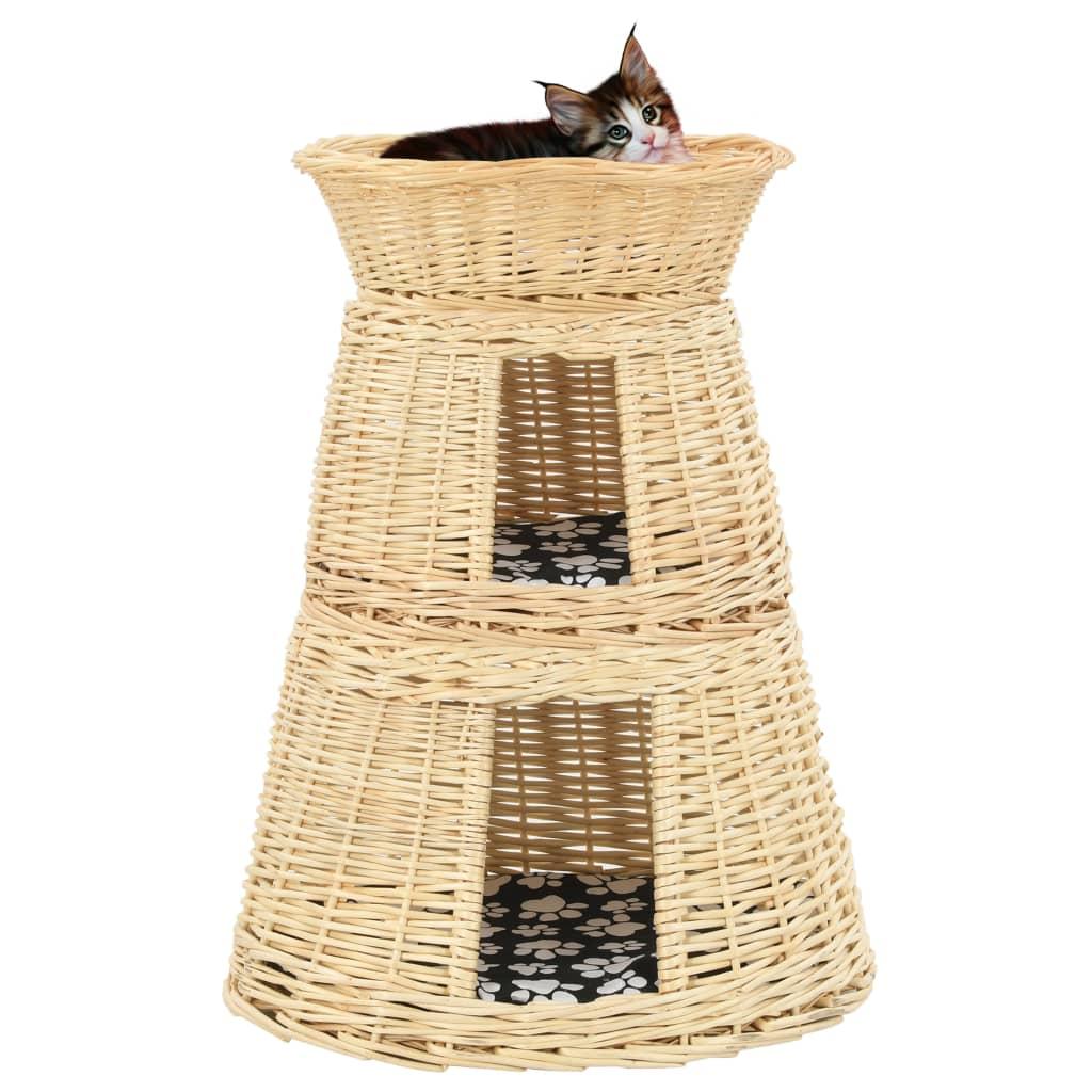 vidaXL 3-dielna sada košíkov pre mačku s vankúšmi 47x34x60 cm prírodná vŕba