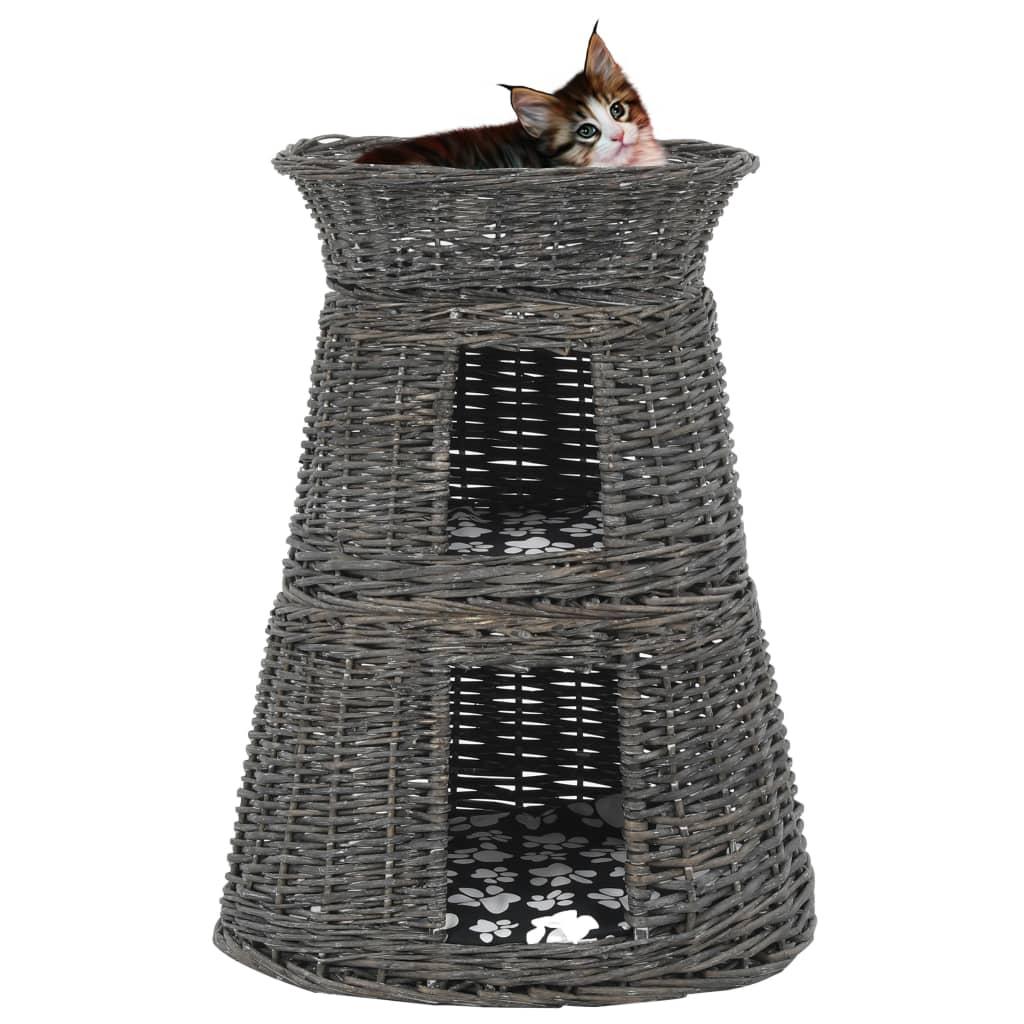 vidaXL 3-dielna sada košíka pre mačku s vankúšmi sivá 47x34x60 cm prírodná vŕba