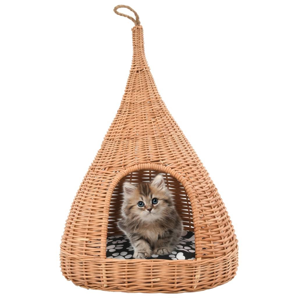 vidaXL Domček pre mačku s vankúšom 40x60 cm prírodná vŕba típí