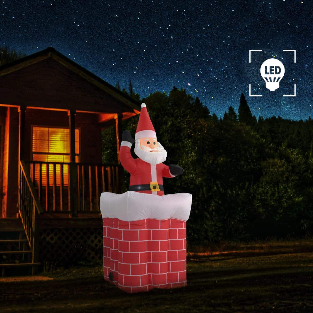vidaXL Vianočný Santa Claus v komíne 180 cm automatický pohyb LED IP44