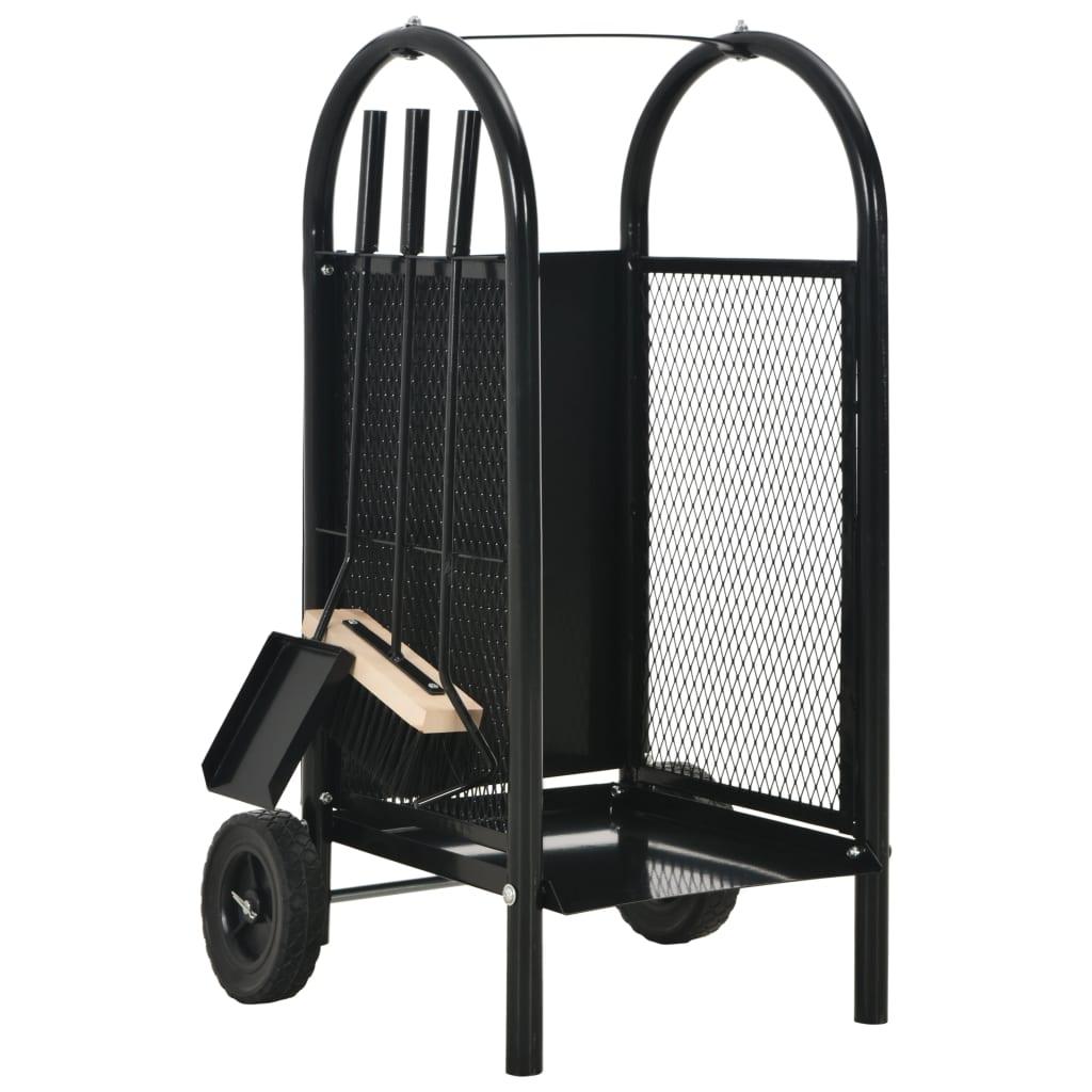 vidaXL Vozík na krbové drevo čierny 30x35x81 cm oceľový