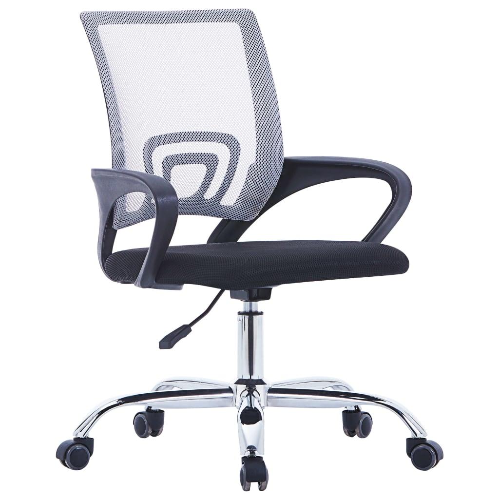 vidaXL Kancelárska stolička s mriežkovaným operadlom sivá látková