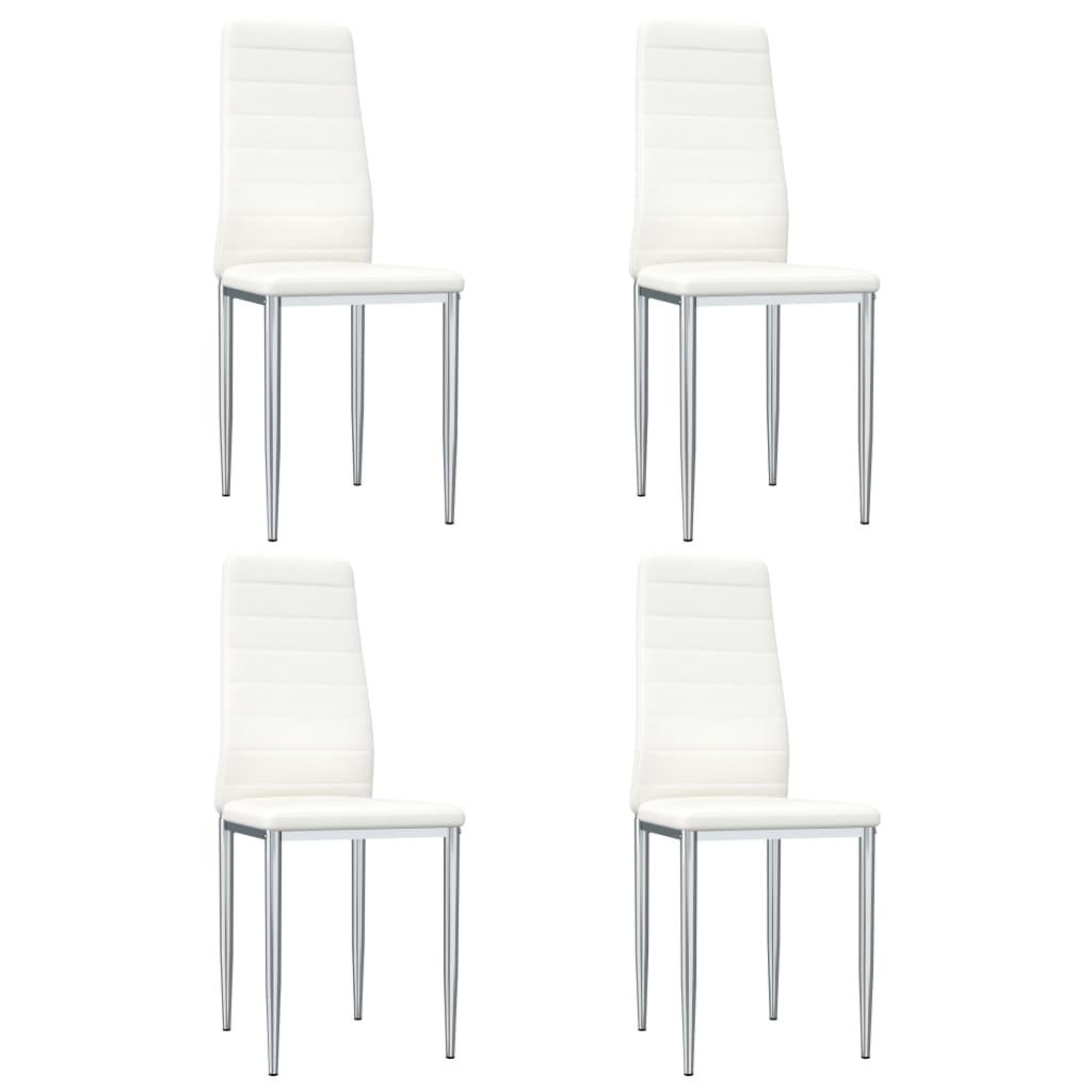 vidaXL Jedálenské stoličky 4 ks, biele, umelá koža