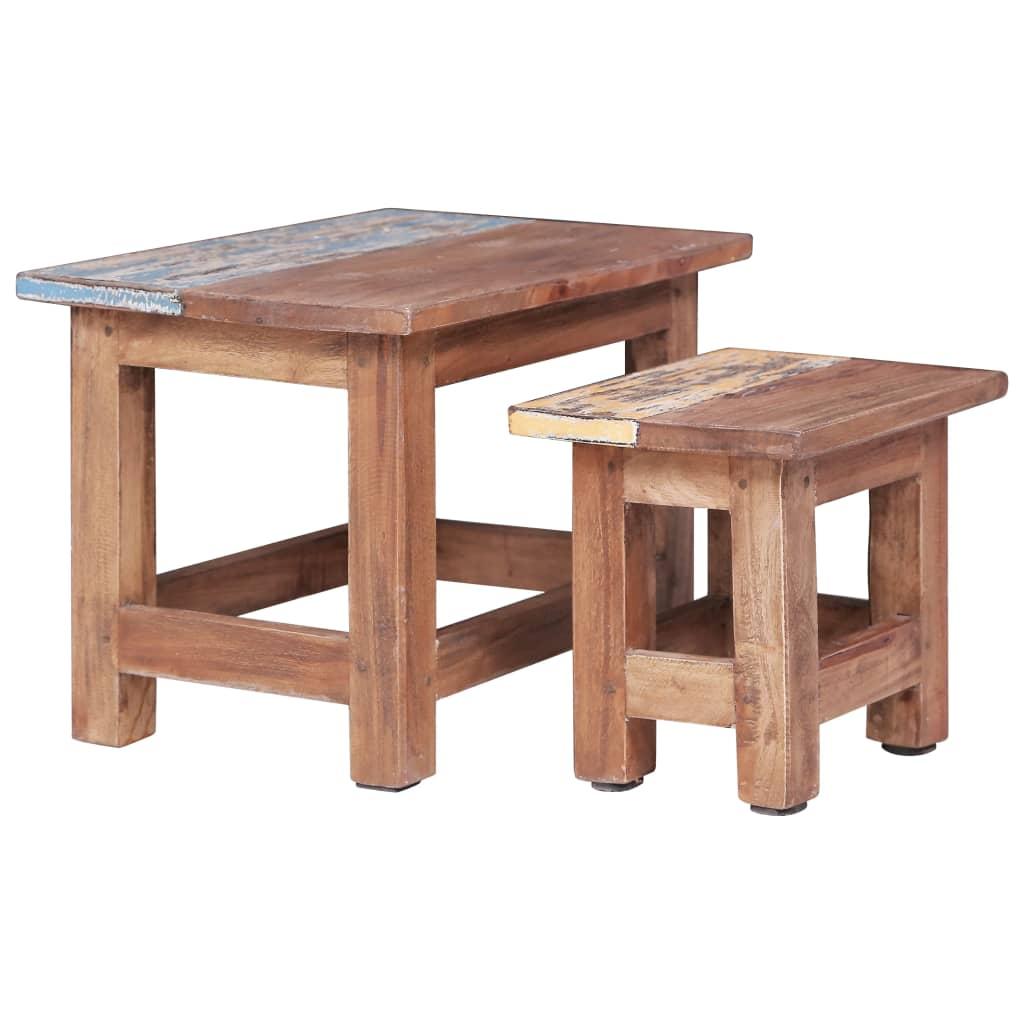 vidaXL Zasúvacie stolíky 2 ks masívne recyklované drevo