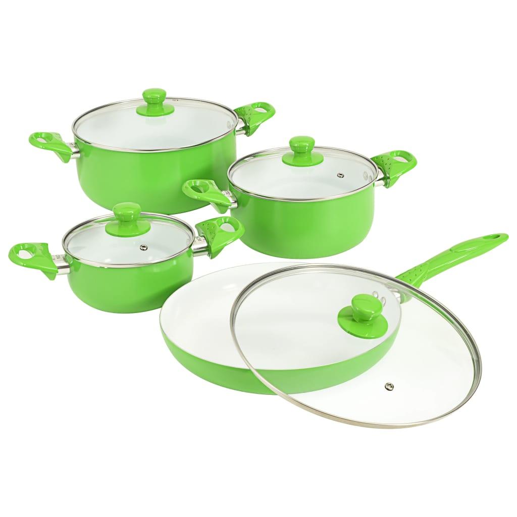 vidaXL 8-dielna sada kuchynského riadu zelená hliníková