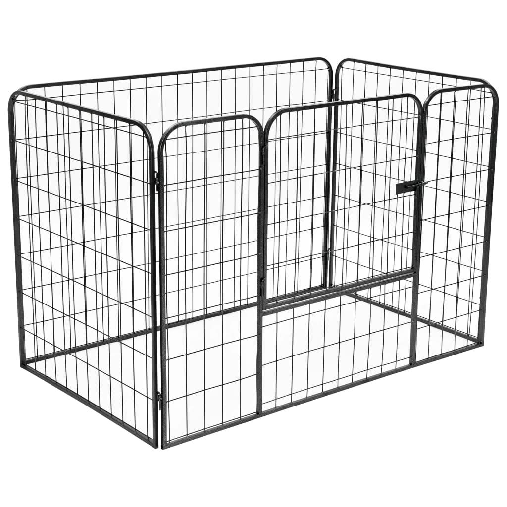 vidaXL Odolná ohrádka pre psov čierna 120x80x70 cm oceľová