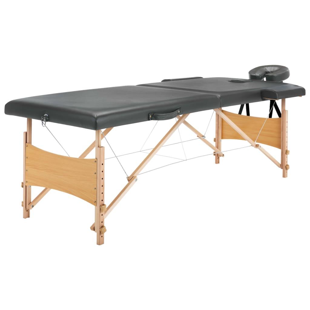 vidaXL Masážny stôl s 2 zónami, drevený rám, antracitový 186x68 cm