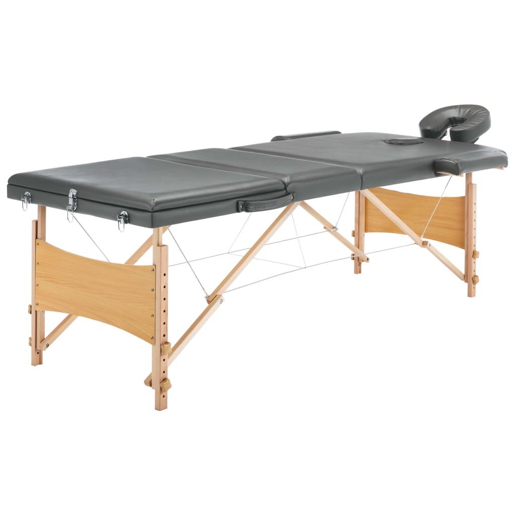 vidaXL Masážny stôl s 3 zónami, drevený rám, antracitový 186x68 cm