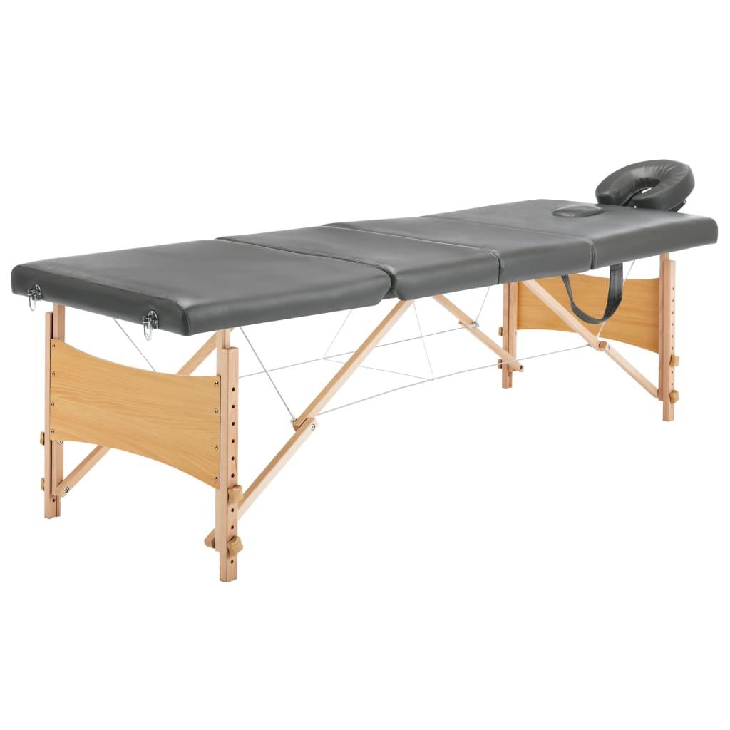 vidaXL Masážny stôl so 4 zónami, drevený rám, antracitový 186x68 cm