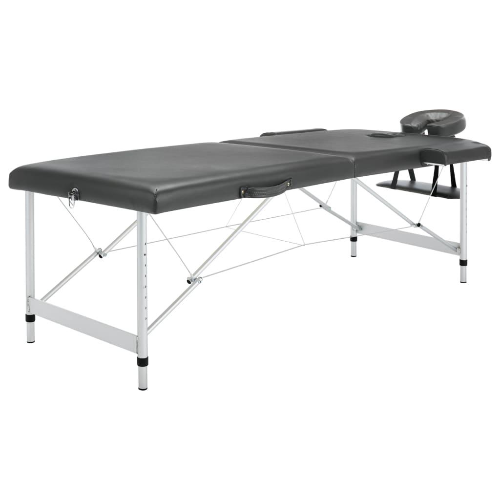 vidaXL Masážny stôl s 2 zónami, hliníkový rám, antracitový 186x68 cm