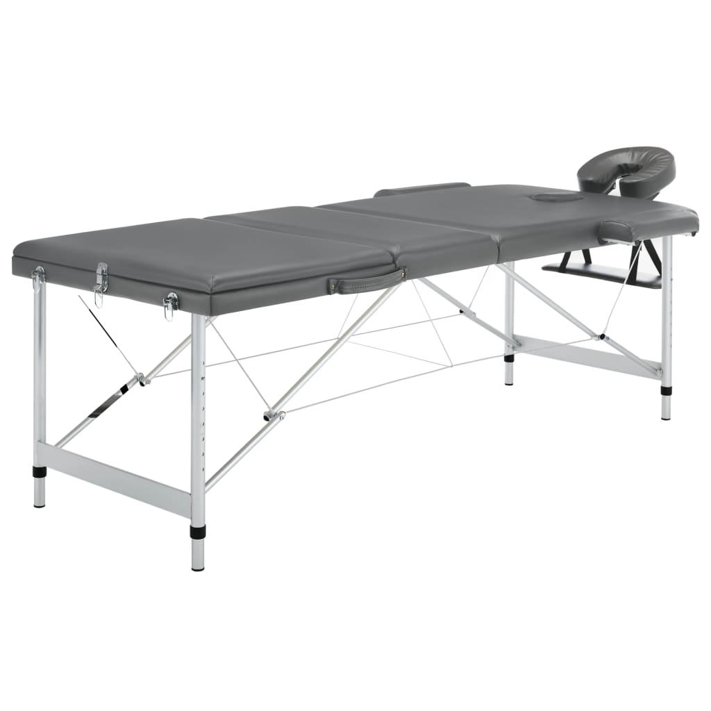 vidaXL Masážny stôl s 3 zónami, hliníkový rám, antracitový 186x68 cm