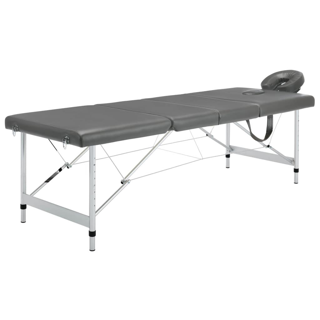 vidaXL Masážny stôl so 4 zónami, hliníkový rám, antracitový 186x68 cm