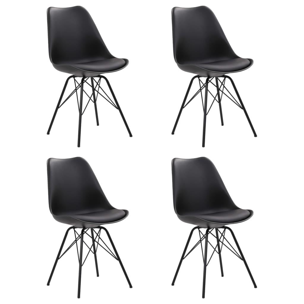 vidaXL Jedálenské stoličky 4 ks, čierne, umelá koža