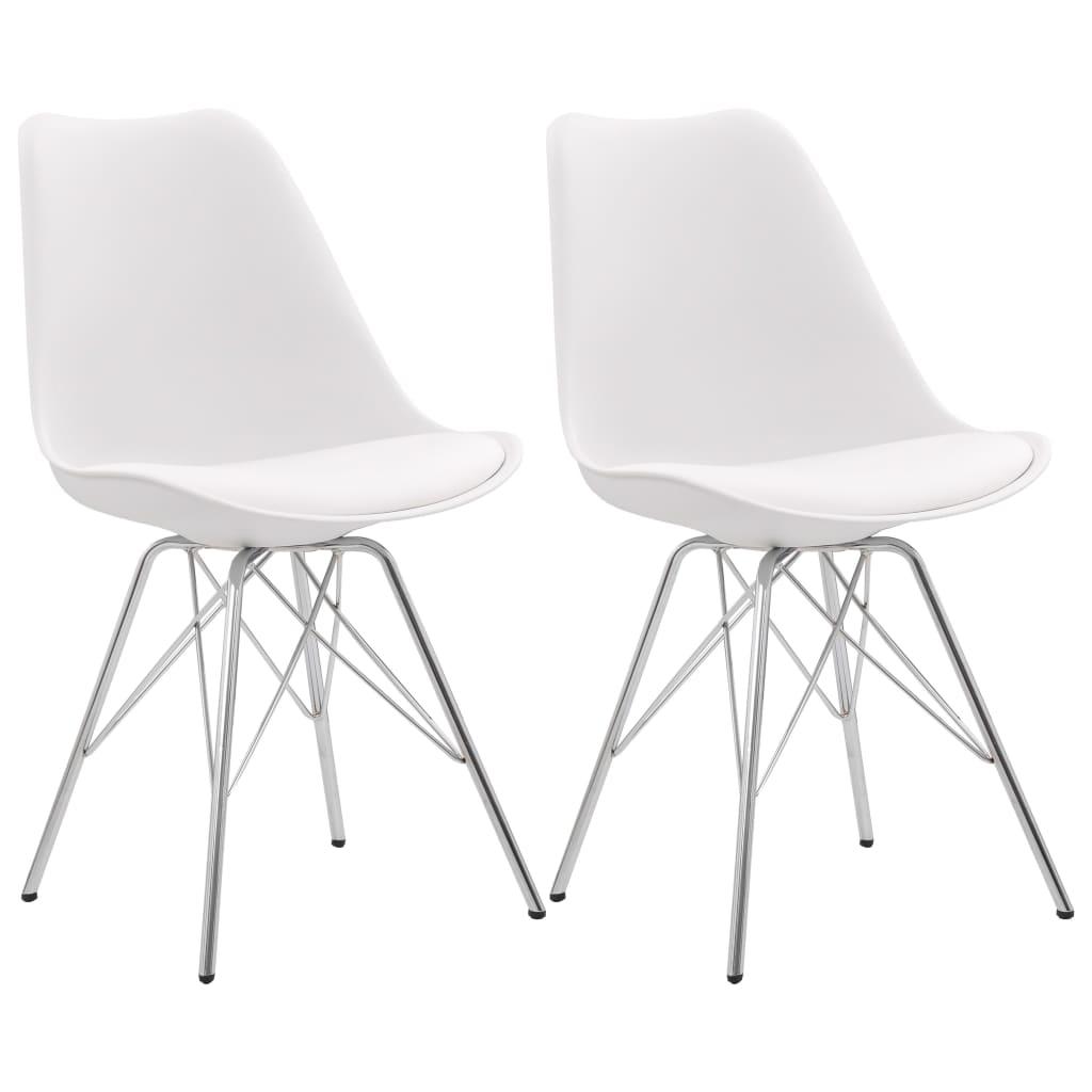 vidaXL Jedálenské stoličky 2 ks, biele, umelá koža