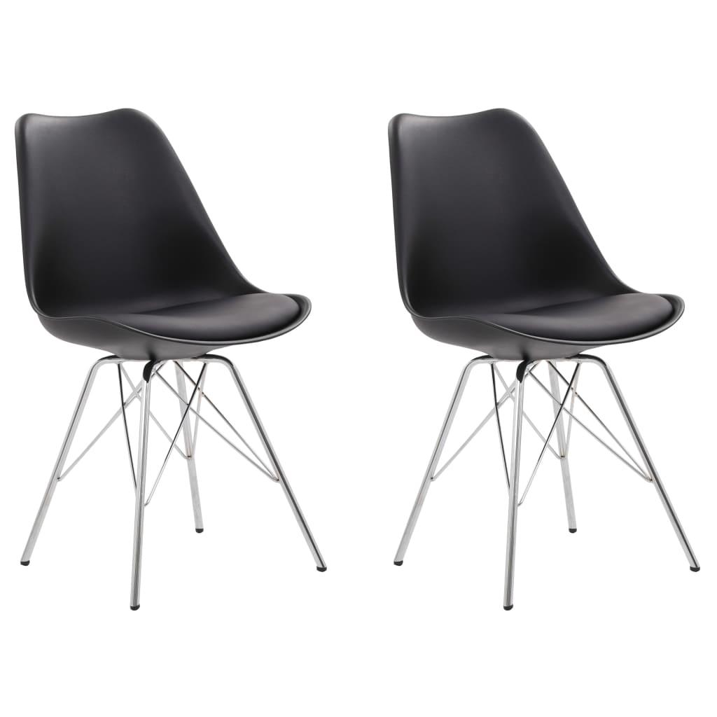 vidaXL Jedálenské stoličky 2 ks, čierne, umelá koža